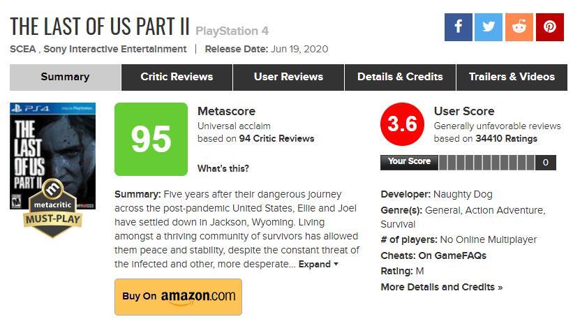 外媒:《美末2》M站的用户评分不能反映真实情况 (2)